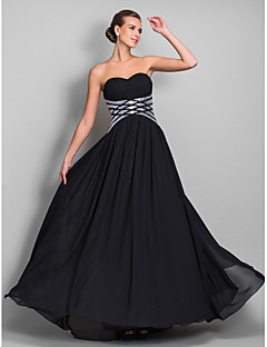Kappe / Kolonne Kjæreste - Formell Aften/Militærball Dress - Svart Gulvlengde Chiffon Plus Sizes