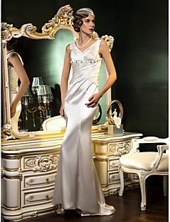 웨딩 드레스 - 아이보리(색상은 모니터에 따라 다를 수 있음) 트럼펫/멀메이드 스위프/브러쉬 트레인 V 넥 스트래치 새틴