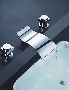 Contemporain Diffusion large Cascade with  Valve en céramique Deux poignées trois trous for  Chrome , Robinet lavabo