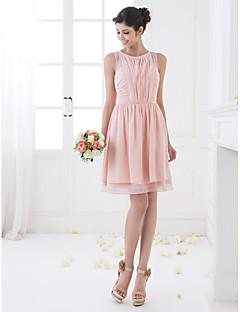 lanting largo hasta la rodilla vestido de dama de gasa - rosa perla y otros tamaños / pequeño una línea de joyas