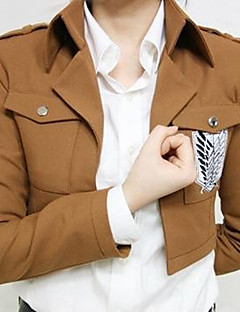 Inspired by Attack on Titan Eren Jager Anime Cosplay Costumes Cosplay Tops/Bottoms Print Brown Long Sleeve Coat