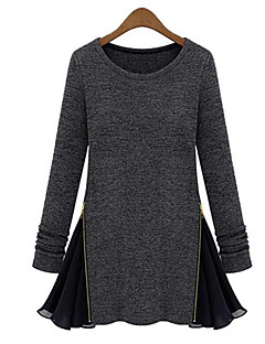 여성의 패치 워크 라운드 넥 긴 소매 티셔츠,심플 캐쥬얼/데일리 블랙 / 그레이 사계절 / 겨울 중간