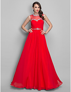 Formal Evening/Prom/Military Ball Dress - Ruby Plus Sizes A-line/Princess Jewel Floor-length Chiffon