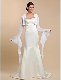 결혼식 랩 코트 / 재킷 긴 소매 쉬폰 화이트 웨딩 / 파티/이브닝 / 캐쥬얼 티셔츠 오픈 프론트