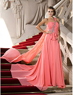 Formal Evening / Prom Dress - Watermelon Plus Sizes / Petite A-line / Princess One Shoulder Court Train / Watteau Train Chiffon