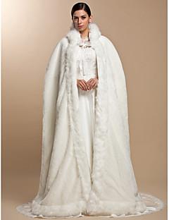 Fur Wraps / Wedding  Wraps / Hoods & Ponchos Capes Long Sleeve Faux Fur Party/Evening Open Front