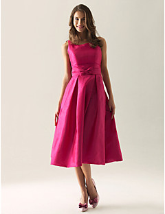 Lanting Bride® Tea-length Taffeta Bridesmaid Dress A-line / Princess Square / Straps Plus Size / Petite with Bow(s) / Draping