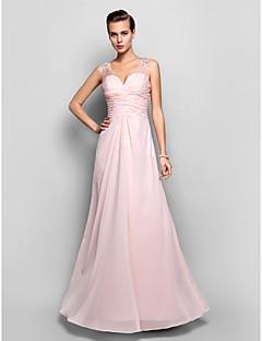 vaina / columna v-cuello de gasa hasta los pies y vestido de encaje de noche / baile (682734)