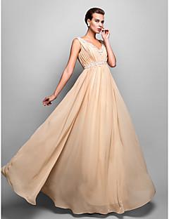 저녁 정장파티/밀리터리 볼 드레스 - 샴페인 시스/컬럼 바닥 길이 V넥 쉬폰 플러스 사이즈