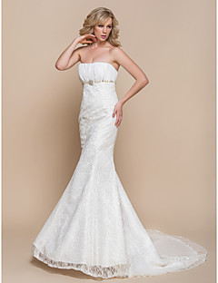 Trumpet / Mermaid Wedding Dress - Elegant & Luxurious / Glamorous & Dramatic Lacy Looks / Vintage Inspired / Spring 2014 Court Train