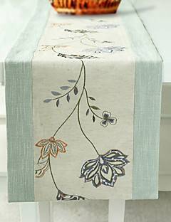 "Embroidered Floral Table Runner, Polyester/Linen 80""*14"""