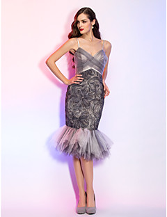 Cocktail Party / Homecoming / Holiday Dress - Short Plus Size / Petite Trumpet / Mermaid Spaghetti Straps Knee-lengthTulle / Stretch