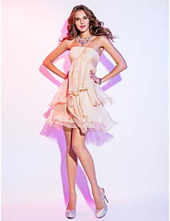 Homecoming Cocktail Party/Homecoming/Holiday Dress - Champagne Plus Sizes A-line Scoop Short/Mini Chiffon