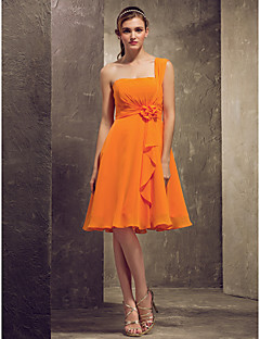 Knee-length Chiffon Bridesmaid Dress - Orange Plus Sizes / Petite A-line / Princess One Shoulder