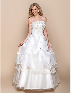 A-line Wedding Dress Floor-length Strapless Organza with Appliques / Beading / Flower / Pick-Up