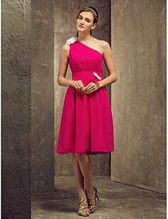 hjemkomst brudepike kjole kne lengde chiffon en linje en skulder kjole (808 867)