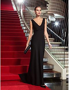 Formal Evening/Military Ball Dress - Black Plus Sizes Sheath/Column V-neck Sweep/Brush Train Jersey