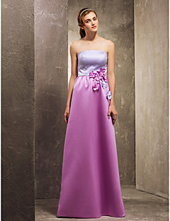 Floor-length Satin Bridesmaid Dress - Multi-color Apple/Hourglass/Inverted Triangle/Pear/Rectangle/Plus Sizes/Petite/Misses A-line