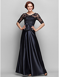 Lanting A-line Plus Sizes / Petite Mother of the Bride Dress - Black Floor-length Half Sleeve Satin / Lace
