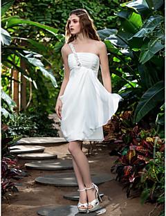 Lanting Bride® Tube / kolonne Petit / Plus Størrelser Brudekjole - Mottakelseskjoler Små Hvite Kjoler Knelang Enskuldret Chiffon med