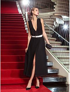 밀리터리 볼/저녁 정장파티 드레스 - 블랙 시스/컬럼 발목 길이 V넥 쉬폰 플러스 사이즈