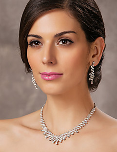 vackra tjeckiska strass-legering pläterad bröllop brud smycken set, inklusive halsband och örhängen