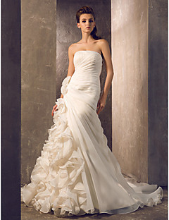 Lanting Trumpet/Mermaid Petite / Plus Sizes Wedding Dress - Ivory Court Train Strapless Organza