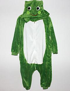 Kigurumi פיג'מות צפרדע /סרבל תינוקותבגד גוף פסטיבל/חג הלבשת בעלי חיים Halloween לבן / ירוק טלאים פלנל Kigurumi ל ילדהאלווין (ליל כל