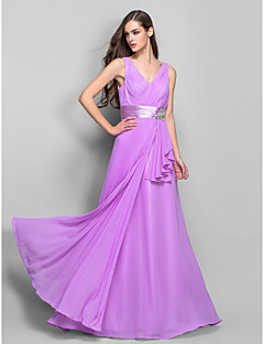 TS Couture® Prom / Formal Evening / Military Ball Dress - Open Back Plus Size / Petite Sheath / Column V-neck Floor-length Chiffon / Stretch Satin