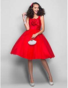 동창회 드레스 - 루비 플러스 크기의 볼 가운 V 넥 무릎 길이 새틴 / 얇은 명주 그물