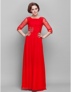 Lanting Sheath/Column Plus Sizes / Petite Mother of the Bride Dress - Ruby Floor-length 3/4 Length Sleeve Chiffon / Tulle