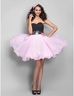 Vestito - Multicolore Trapezio/Stile Principessa Cuore Mini Organza/Chiffon Taglie grandi