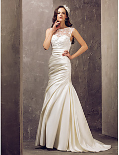 LAN TING BRIDE Trumpet / Mermaid Wedding Dress - Elegant & Luxurious Glamorous & Dramatic See-Through Sweep / Brush Train Jewel Lace Satin
