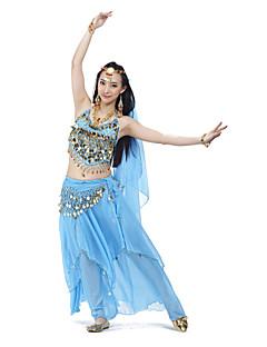 Χορός της κοιλιάς Σύνολα Γυναικεία Εκπαίδευση Σιφόν Χάντρες Κέρματα 4 Κομμάτια ΑμάνικοΚορυφή Φούστα Φουλάρι Γοφών για Χορό της Κοιλιάς