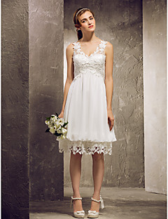Lanting Knee-length Chiffon / Lace Bridesmaid Dress - Ivory Plus Sizes / Petite A-line / Princess V-neck