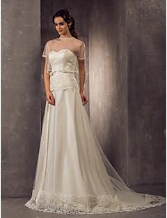 Sheath/Column Plus Sizes Wedding Dress - Ivory Sweep/Brush Train Sweetheart Tulle/Satin