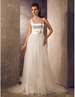Lanting Bride A-line / Princess Petite / Plus Sizes Wedding Dress-Sweep/Brush Train Scoop Tulle / Stretch Satin