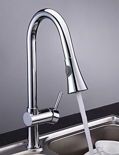 Traditional Pull-out/Pull-down Deck Mounted Pullout Spray with  Ceramic Valve Single Handle One Hole for  Chrome , Kitchen faucet