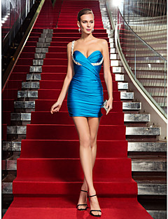 Bainha / coluna um ombro curto / mini vestido de festa cocktail com cristal