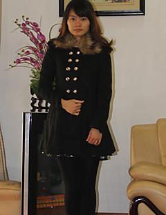 Цветок Love Fashion меховым воротником Solid Color Твид пальто (черный)