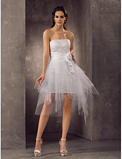 LAN TING BRIDE Sheath / Column Wedding Dress - Chic & Modern Reception Little White Dress Short / Mini Strapless Tulle withFlower Ruche