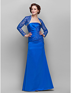 Sheath/Column Plus Sizes / Petite Mother of the Bride Dress - Royal Blue Floor-length Long Sleeve Lace / Satin