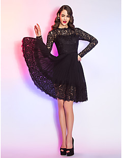 TS Couture Cocktail Party / Holiday Dress - Black Plus Sizes / Petite A-line Queen Anne Knee-length Lace / Chiffon