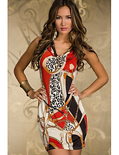 Women's Casual/Daily Bodycon Dress,Print Cowl Above Knee Sleeveless Red / Green Polyester Summer