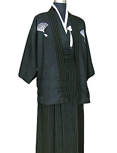 Black Satin Traditional Japanese Samurai Kimono Men's Costume