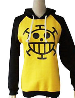 Inspired by One Piece Trafalgar Law Anime Cosplay Costumes Cosplay Hoodies Print Black / Yellow Long Sleeve Coat