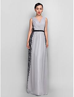 저녁 정장파티/밀리터리 볼 드레스 - 실버 시스/컬럼 바닥 길이 V넥 쉬폰/레이스 플러스 사이즈