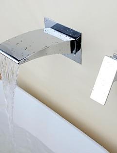 Současná Vodopád Chrome Brass Dva otvory Single Handle umyvadlem kohoutek