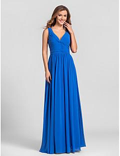 Vestido de Dama de Honor - Azul Real Corte A Escote en V - Hasta el Suelo Georgette Tallas grandes / Tallas pequeñas