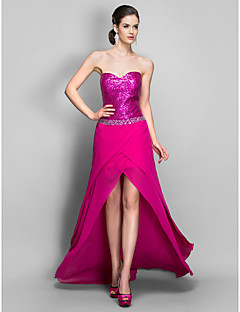 Cocktail Party / Holiday / Prom Dress - Fuchsia Plus Sizes / Petite Sheath/Column Sweetheart Asymmetrical Chiffon / Sequined